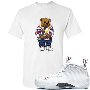 Nike WMNS Air Foamposite One USA Sneaker Hook Up Polo Sweater Bear White T-Shirt