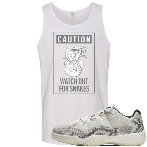 Air Jordan 11 Low Snakeskin Light Bone Sneaker Match Caution Snake White Mens Tank Top