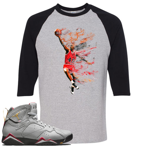 Air Jordan 7 Reflections of a Champion Sneaker Match Jordan Dunking Sports Gray and Black Raglan T-Shirt