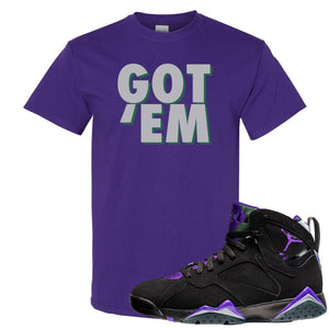 Air Jordan 7 Ray Allen Sneaker Hook Up Got Em Purple T-Shirt