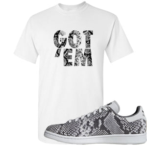 Adidas Stan Smith Grey Snakeskin Sneaker Hook Up Got Em White T-Shirt