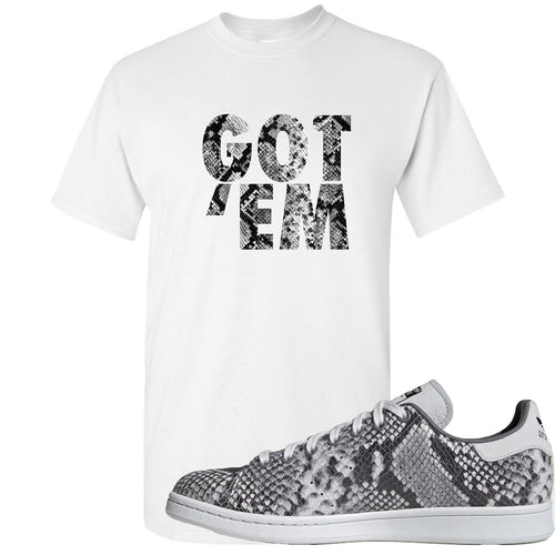 Adidas Stan Smith Grey Snakeskin Sneaker Match Got Em White T-Shirt