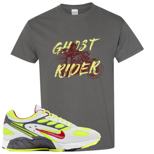 Nike Air Ghost Racer Neon Yellow Sneaker Match Ghost Rider Charcoal T-Shirt