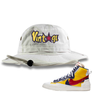 Air Max Sacai Blazer Mid Varsity Maize Sneaker Hook Up Vintage with Star Logo White Bucket Hat