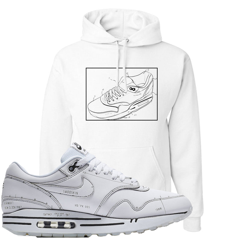 Nike Air Max 1 Sketch to Shelf White Sneaker Hook Up Blue Print White Hoodie