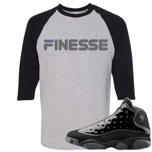 Air Jordan 13 Cap and Gown Sneaker Hook Up Finesse Black and Sports Grey Ragalan T-Shirt