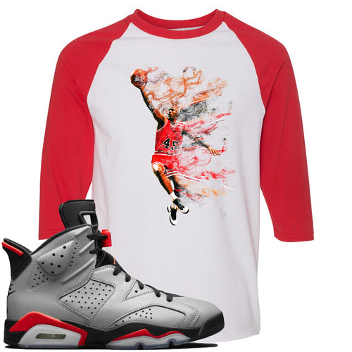 Air Jordan 6 Reflections of a Champion Sneaker Match Jordan Dunking White and Red Raglan T-Shirt