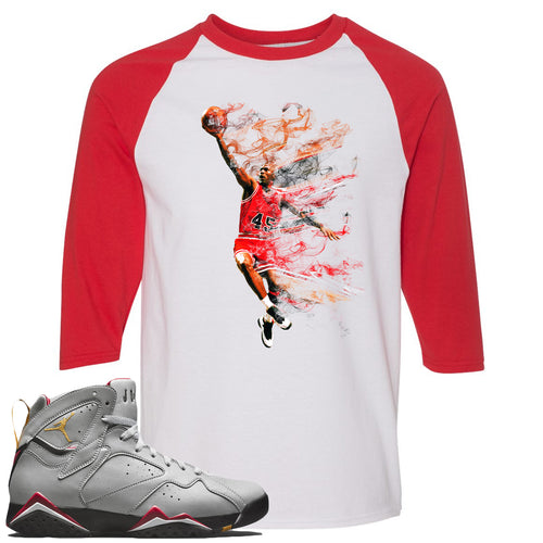 Air Jordan 7 Reflections of a Champion Sneaker Match Jordan Dunking White and Red Raglan T-Shirt