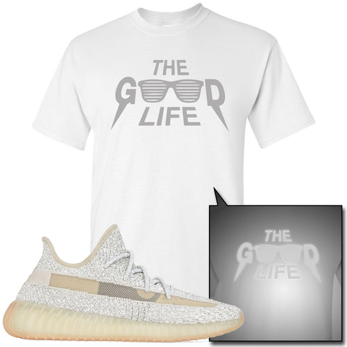 Adidas Yeezy Boost 350 v2 Lundmark Reflective Sneaker Match The Good Life White T-Shirt