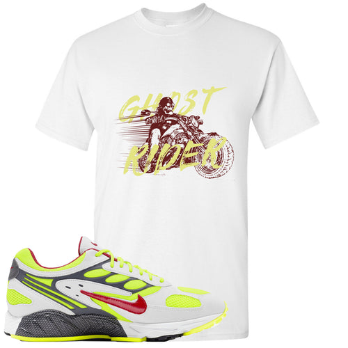 Nike Air Ghost Racer Neon Yellow Sneaker Match Ghost Rider White T-Shirt