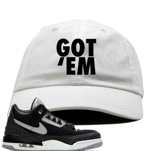 Air Jordan 3 Tinker Black Cement Sneaker Match Got Em White Dad Hat