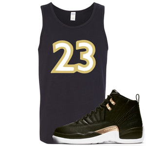 "Jordan 12 WMNS Reptile Sneaker Hook Up ""23"" Black Mens Tank Top"