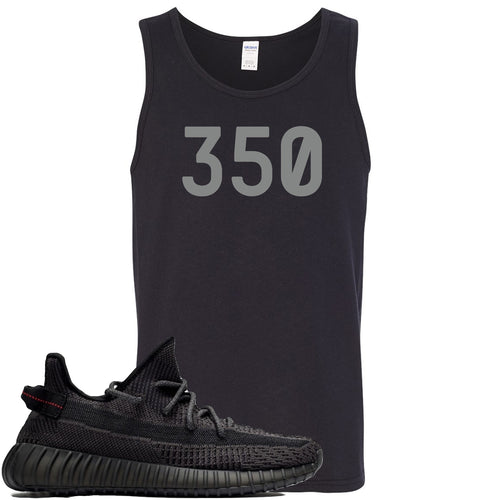 "Adidas Yeezy Boost 350 v2 Black Sneaker Match ""350"" Black Mens Tank Top"