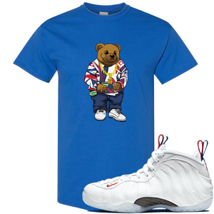Nike WMNS Air Foamposite One USA Sneaker Hook Up Polo Sweater Bear Royal Blue T-Shirt