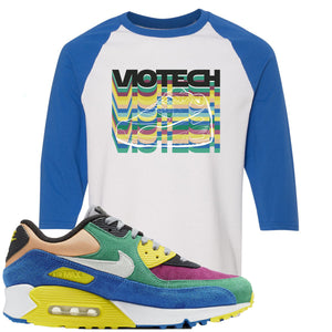 Nike Air Max 90 Viotech 2.0 Sneaker Hook Up Viotech White and Royal Blue Raglan T-Shirt