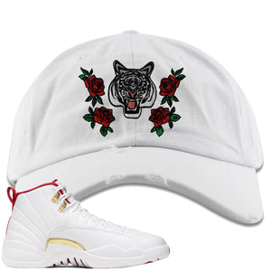 Air Jordan 12 FIBA Sneaker Hook Up Rose Tiger white Distressed Dad Hat