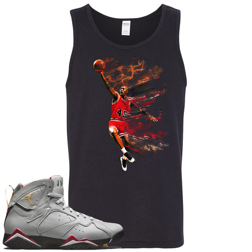 Air Jordan 7 Reflections of a Champion Sneaker Match Jordan Dunking Black Mens Tank Top