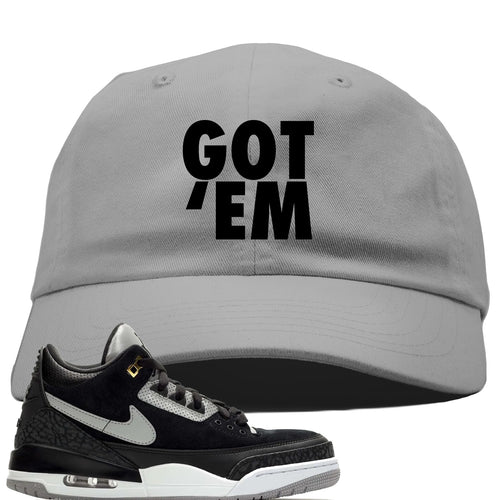 Air Jordan 3 Tinker Black Cement Sneaker Match Got Em Light Gray Dad Hat