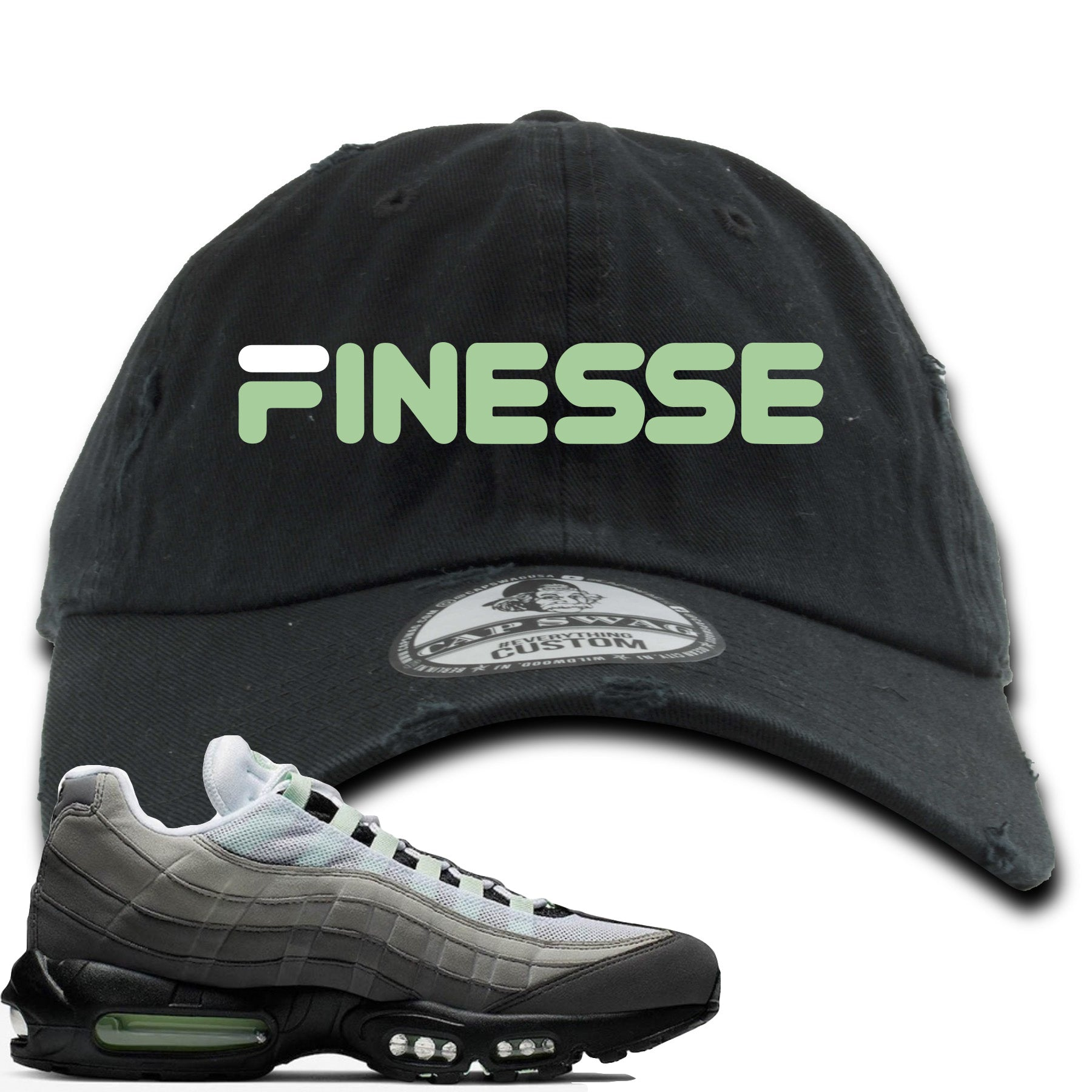 sports shoes 1f30b 04920 Nike Air Max 95 Fresh Mint Sneaker Match Finesse Black Distressed Dad Hat