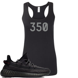 "Adidas Yeezy Boost 350 v2 Black Sneaker Hook Up ""350"" Black Womens Tank Top"