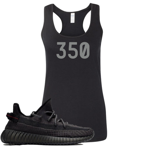 "Adidas Yeezy Boost 350 v2 Black Sneaker Match ""350"" Black Womens Tank Top"