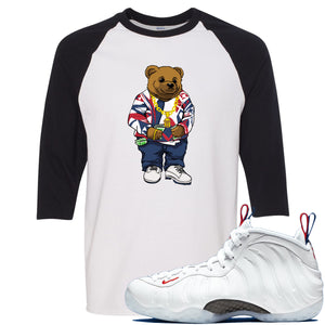 Nike WMNS Air Foamposite One USA Sneaker Hook Up Polo Sweater Bear White and Black Raglan T-Shirt
