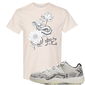 Air Jordan 11 Low Snakeskin Light Bone Sneaker Hook Up Snake and Lotus Flowers Natural T-Shirt