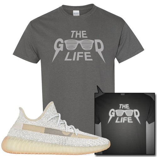 Adidas Yeezy Boost 350 v2 Lundmark Reflective Sneaker Match The Good Life Charcoal Gray T-Shirt