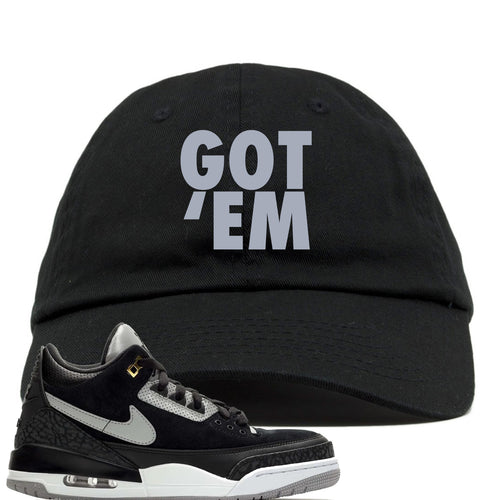 Air Jordan 3 Tinker Black Cement Sneaker Match Got Em Black Dad Hat