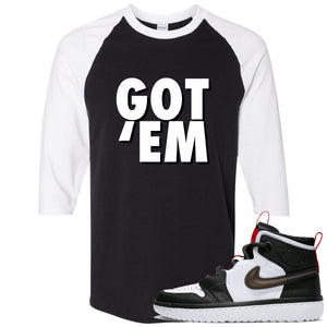 Air Jordan 1 High React White Black Sneaker Hook Up Got Em Black Raglan T-Shirt