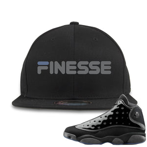 Air Jordan 13 Cap and Gown Sneaker Hook Up Finesse Black Snapback