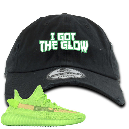 Yeezy Boost 350 V2 Glow Sneaker Match I Got The Glow Black Distressed Dad Hat
