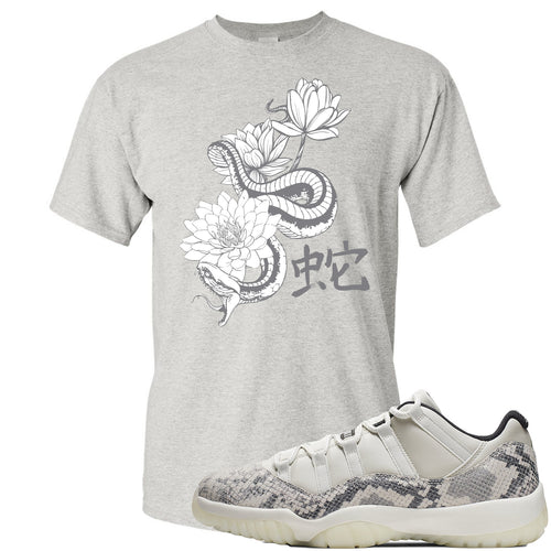 Air Jordan 11 Low Snakeskin Light Bone Sneaker Match Snake and Lotus Flowers Sports Gray T-Shirt