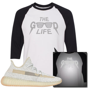 Adidas Yeezy Boost 350 v2 Lundmark Reflective Sneaker Hook Up The Good Life White and Black Raglan T-Shirt