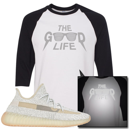 Adidas Yeezy Boost 350 v2 Lundmark Reflective Sneaker Match The Good Life White and Black Raglan T-Shirt