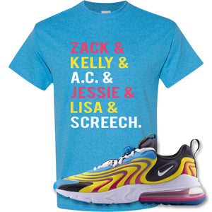 Zach And Gang Heather Sapphire T-Shirt to match Air Max 270 React ENG Laser Blue Sneakers