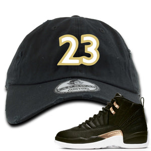 "Jordan 12 WMNS Reptile Sneaker Hook Up ""23"" Black Distressed Dad Hat"