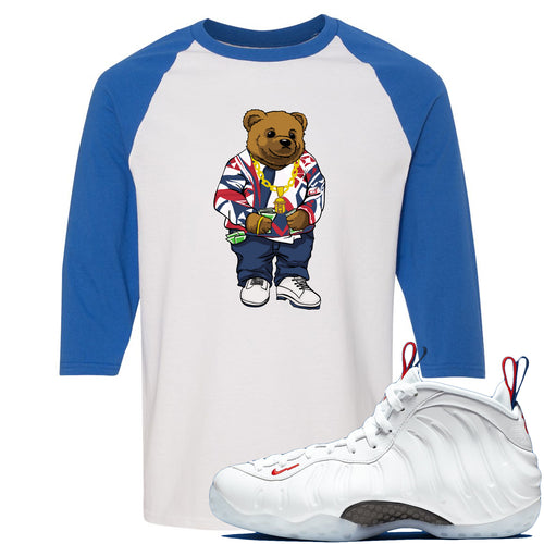 Nike WMNS Air Foamposite One USA Sneaker Match Polo Biggie Bear White and Blue Raglan T-Shirt