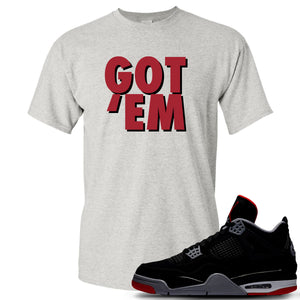 This grey and red t-shirt will match great with your Air Jordan 4 Bred shoes