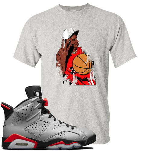 Air Jordan 6 Reflections of a Champion Sneaker Match Three Finger Jordan Distressed Vintage Sports Gray T-Shirt