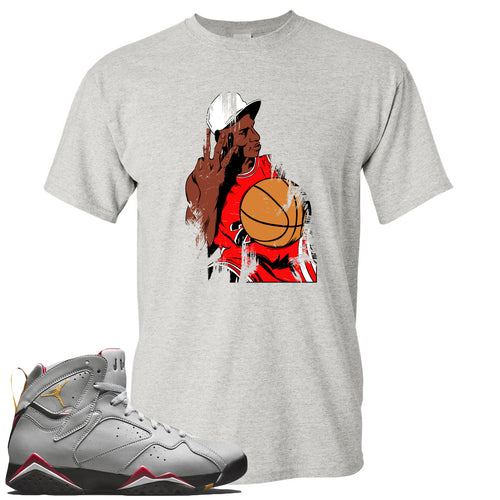 Air Jordan 7 Reflections of a Champion Sneaker Match Three Finger Jordan Distressed Vintage Sports Gray T-Shirt