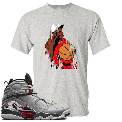 Air Jordan 8 Reflections of a Champion Sneaker Match Three Finger Jordan Distressed Vintage Sports Gray T-Shirt