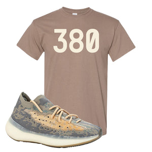 Yeezy Boost 380 Mist Sneaker Brown Savanna T Shirt | Tees to match Adidas Yeezy Boost 380 Mist Shoes | 380
