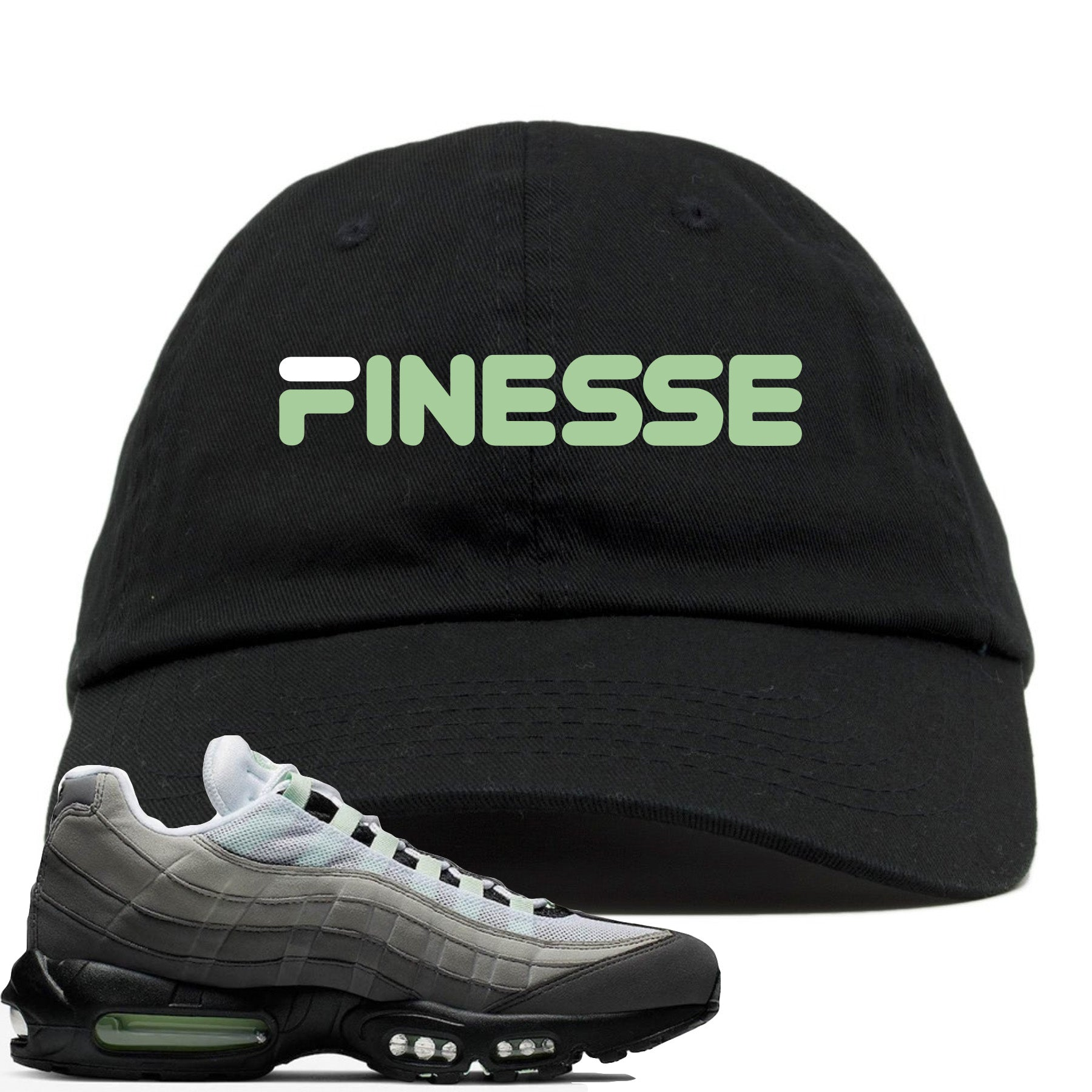 detailed look 0d543 357b4 Nike Air Max 95 Fresh Mint Sneaker Match Finesse Black Dad Hat