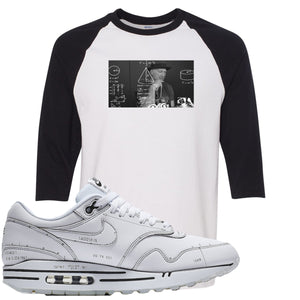 Nike Air Max 1 Sketch to Shelf White Sneaker Hook Up Tinker Thinker White and Black Raglan T-Shirt