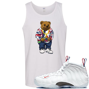 Nike WMNS Air Foamposite One USA Sneaker Hook Up Polo Sweater Bear White Mens Tank Top