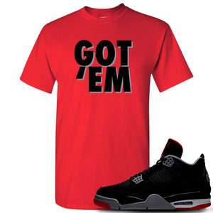 This red and black t-shirt will match great with your Air Jordan 4 Bred shoes