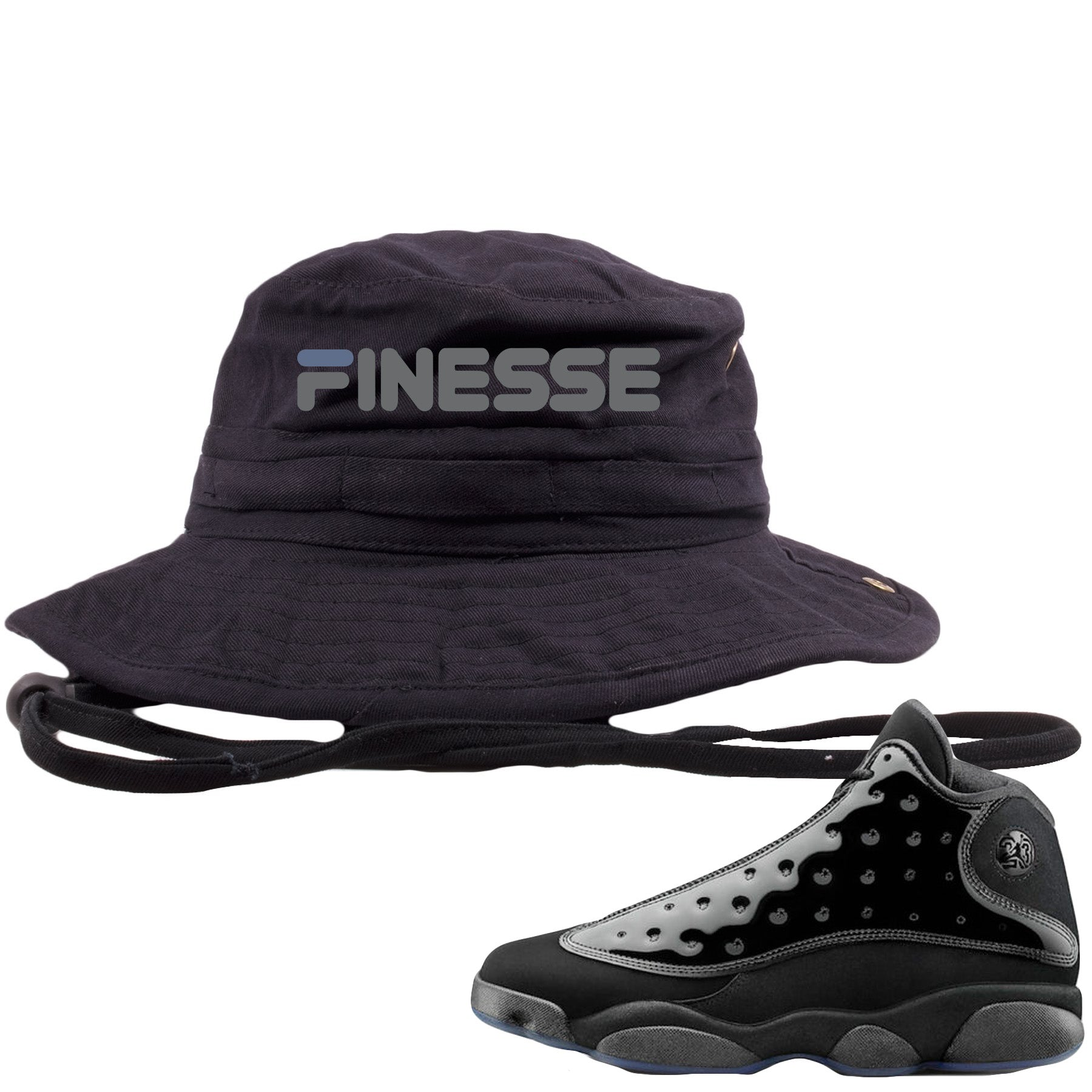 2891cba1 Air Jordan 13 Cap and Gown Sneaker Match Finesse Black Bucket Hat ...