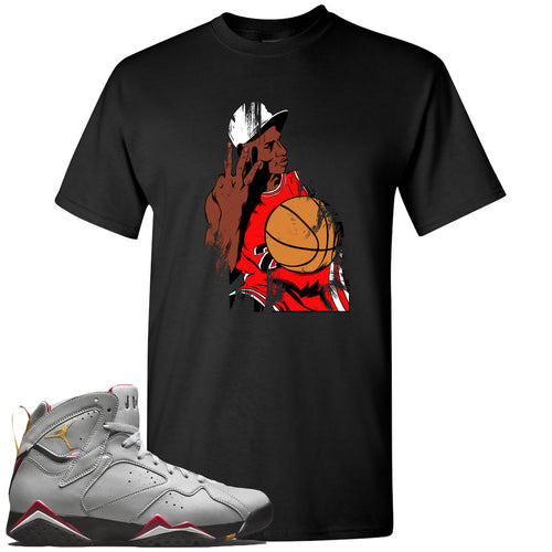 Air Jordan 7 Reflections of a Champion Sneaker Match Three Finger Jordan Distressed Vintage Black T-Shirt