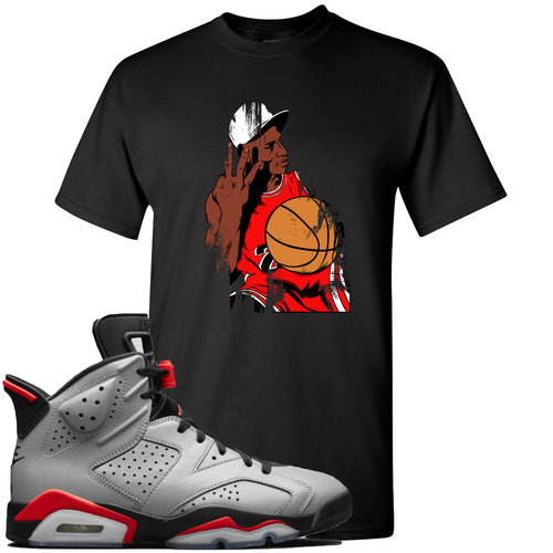 Air Jordan 6 Reflections of a Champion Sneaker Match Three Finger Jordan Distressed Vintage Black T-Shirt